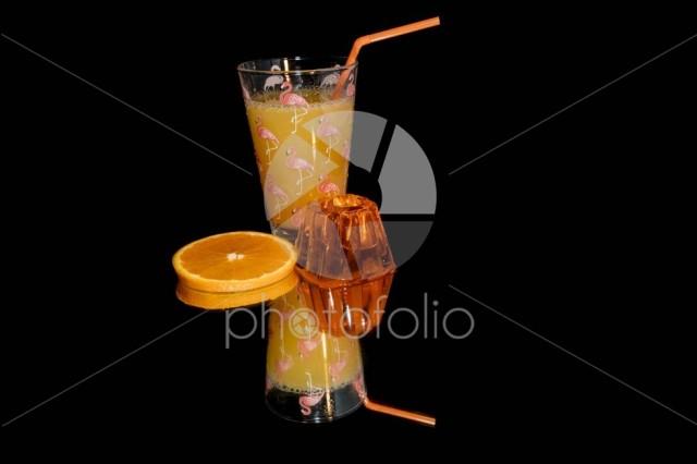 Orange juice , jelly and orange slice isolated