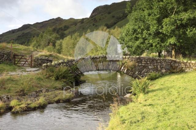 Summer, Packhorse stone bridge over Watendlath Beck, Watendlath