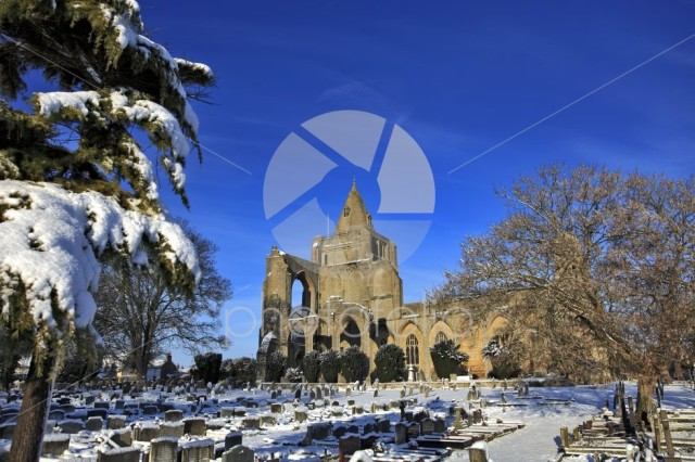 Winter snow; Crowland Abbey; Crowland town; Lincolnshire