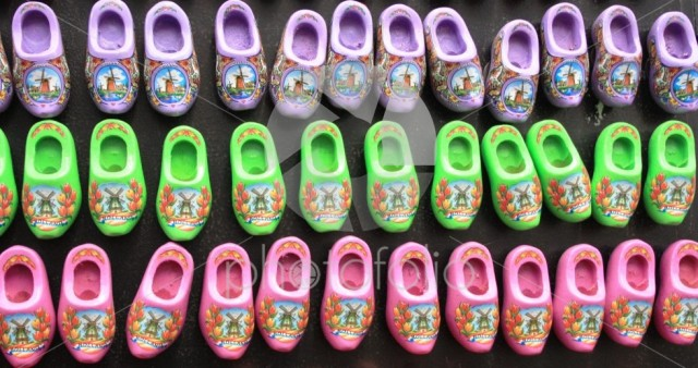 Dutch shoes. Traditional red Amsterdam clogs bought as souvenir gifts