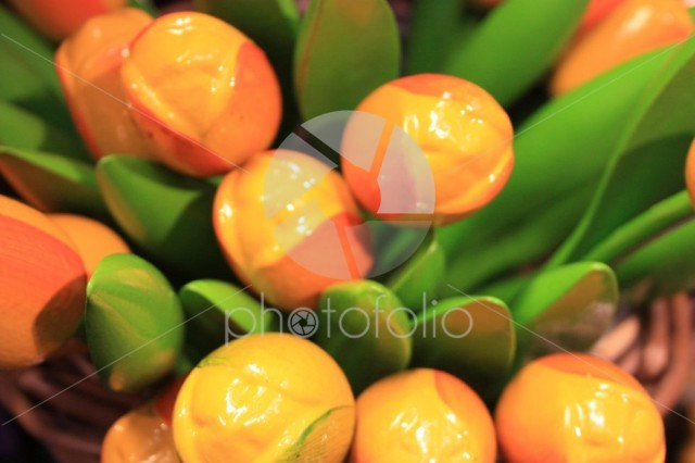 Fake tulips in plastic or ceramic, a symbol of Holland. Flowers souvenirs for tourists in Amsterdam