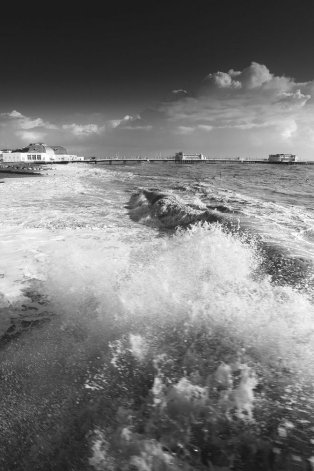 Storm over the Victorian Pier at Worthing town, West Sussex