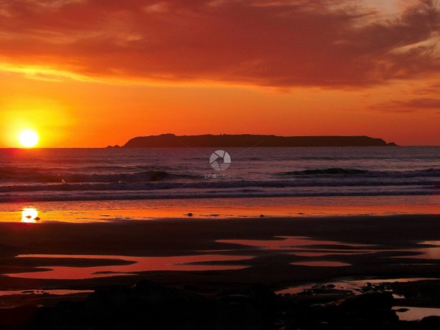 Sunset over Skokholm Island in Pembrokeshire