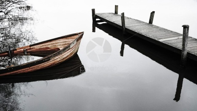 Rowing boat and pier