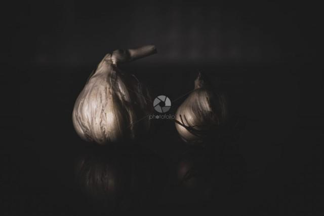 White garlic in dark light