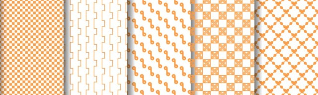 Orange set of patterns on white seamless background