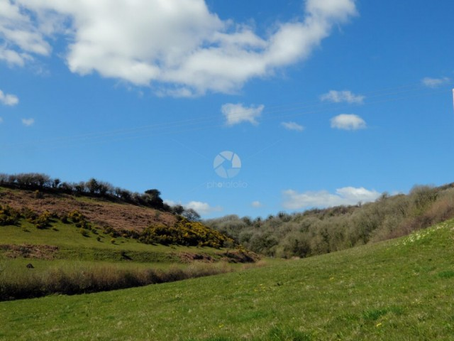 Fluffy white clouds in a blue sky above a beautiful Welsh hillside