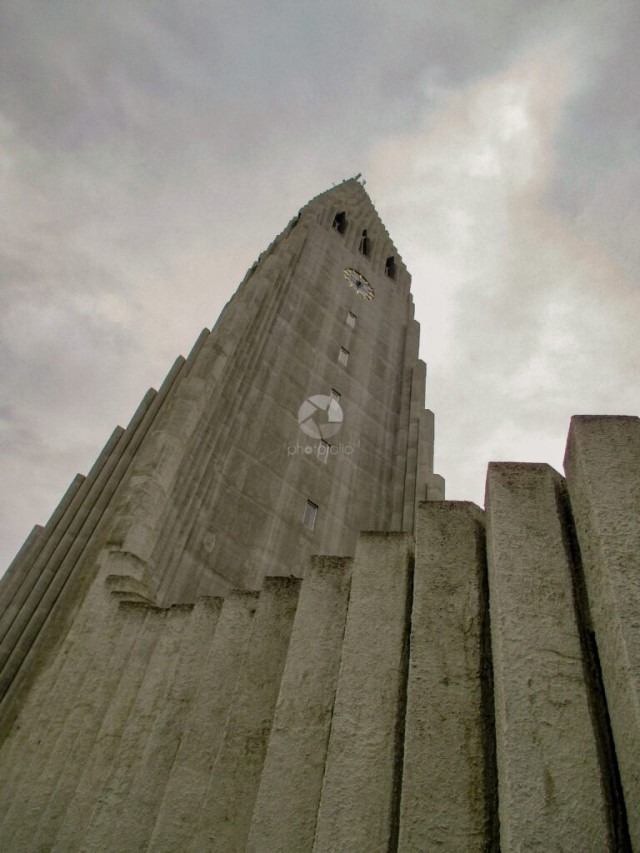 Gazing up at an Icelandic church