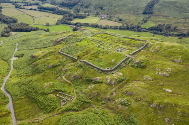 Aerial footage of Hardknott Roman Fort located on the western side of the Hardknott Pass