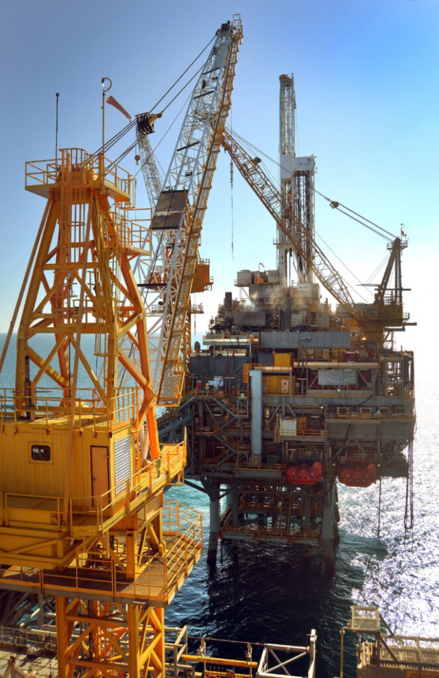 Offshore platform during construction phase Bass Strait Australia