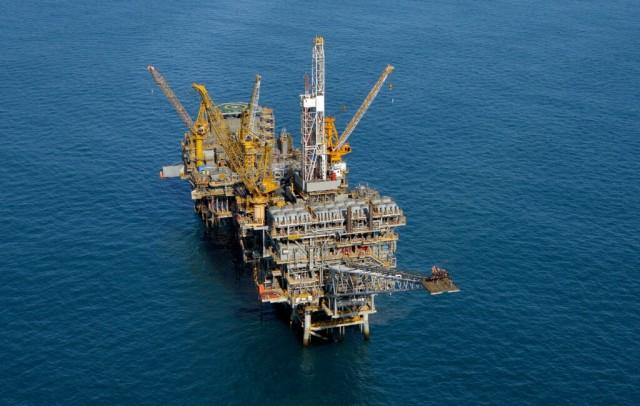 Marlin A  B platforms offshore in Bass Strait Australia aerial image