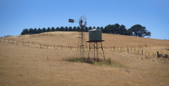Water tank stands on a hill in a Australian farm