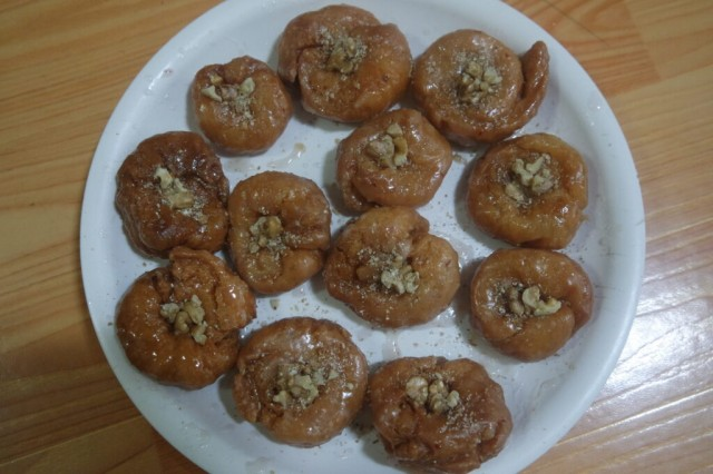 Closeup of delicious and tasty Asian sweet dish called balu shahi or baloshahi