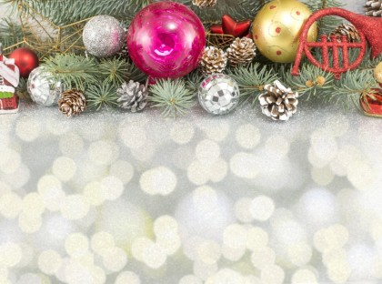 Christmas ornaments with fir tree