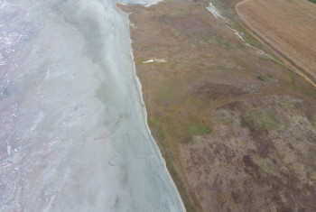 Saline Salt Lake in the Azov Sea coast. Former estuary. View from above. Dry lake. View of the salt lake with a bird's eye view