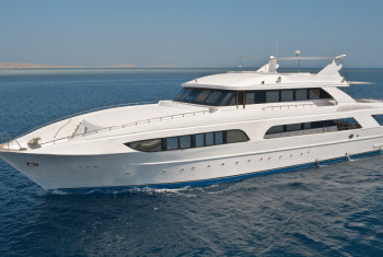 Large motor yacht out at sea