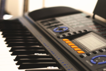 Closeup shot of a black synthesizer