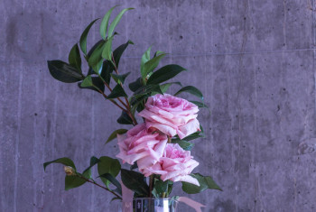 Bouquet of roses in a glass vase.