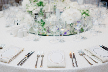Formal dinner service as at a wedding banquet
