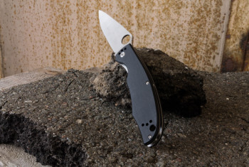 Folding knife with a black handle.