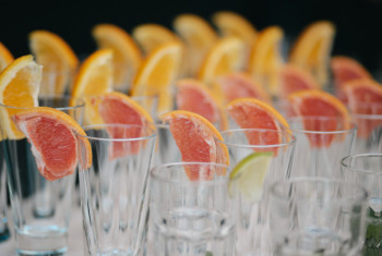 Rows of empty glasses prepared for reception