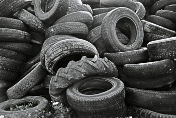 Pile of old tyres