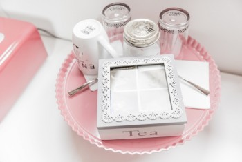Shabby Chic White and Grey Tea Set on Pink Tray