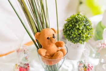 Teddy Bear in a Glass Cup with Green and White Birthday Table De
