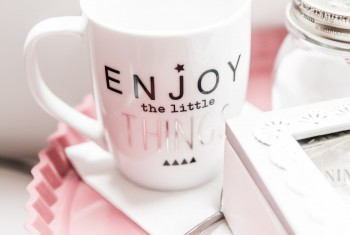 Enjoy Little Things Tea Mug and Set on Pink Tray