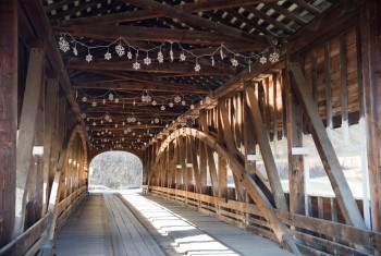 American Covered Wood Bridge on a Sunny Winter Day