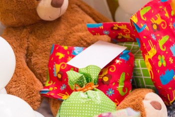 Teddy Bear, Wrapped Presents and Balloons with White Card