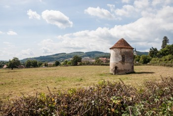 Old French Pigeon Loft in Countryside on Sunny Day